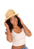 African american woman with straw hat. Royalty Free Stock Photo