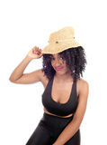African American woman with straw hat. Stock Images