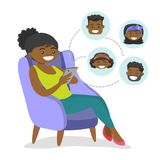African-american woman surfing in social network. royalty free illustration