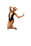 African American woman in swimsuit Stock Images