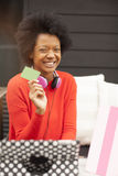 African american woman with tablet and credit card Royalty Free Stock Photos