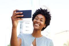 African american woman taking a selfie Stock Photography