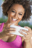 African American Woman Taking Selfie Photograph Smartphone Royalty Free Stock Image