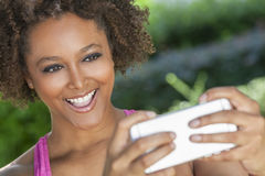 African American Woman Taking Selfie Photograph Smartphone Stock Image