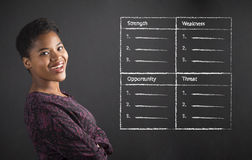 African American woman teacher or student with arms folded and SWOT analysis on black board Stock Photo