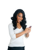 African American Woman texting on the phone Stock Photos