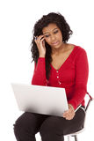 African American woman thinking computer Stock Images