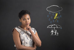 African American woman thinking about an insurance concept Royalty Free Stock Image