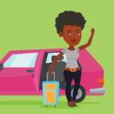 African-american woman traveling by car. Stock Image