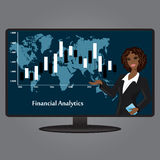 African-American woman on the TV screen, a financial analyst, fl Stock Photos