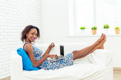 African american woman using laptop Royalty Free Stock Images