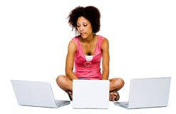 African American woman using laptops Stock Photography