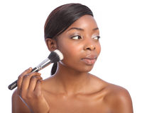 African american woman using powder make up brush Royalty Free Stock Photo
