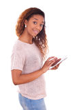 African American Woman using a tactile tablet Stock Image