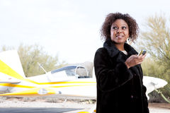 African American woman waiting at the airport Royalty Free Stock Images