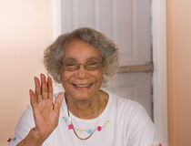 African American Woman Waving Stock Image