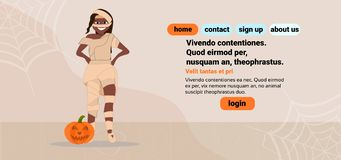 African american woman wear mummy costume happy halloween concept female cartoon character full length flat copy space vector illustration