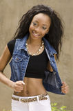 African American woman wearing denim jacket Royalty Free Stock Photo