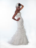 African-American woman in a wedding dress. Young beautiful African-American woman in a wedding dress stock photo