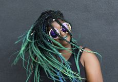 African American Woman With Beautiful Teal Green Blue Braids Stock Photography