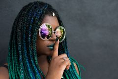 African American Woman With Beautiful Teal Green Blue Braids Stock Images