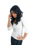 African American Woman worry on the phone Stock Photography