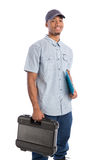 African American Worker Holding Toolbox Stock Image