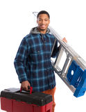 African American Worker Holding Toolbox Stock Photos