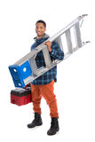 African American Worker Holding Toolbox Royalty Free Stock Image
