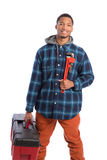 African American Worker Holding Toolbox Royalty Free Stock Photo