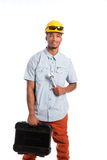 African American Worker Holding Toolbox Stock Images