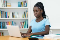 Free African American Young Adult Female Student At Computer Stock Photography - 173991432