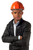 African American young architect foreman. Over white background Royalty Free Stock Photos