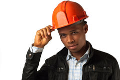 African American young architect foreman. Over white background Stock Photos