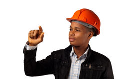 African American young architect foreman. Pointing over white background Stock Photography