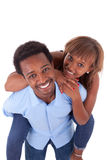 African American young couple playing - Black people Stock Photo
