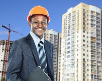African american young Man architect. On a building construction site stock photos