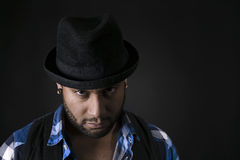 African American Young Man Fashion Model in Hat Royalty Free Stock Image