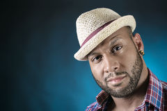 African American Young Man Fashion Model in Hat Royalty Free Stock Photography