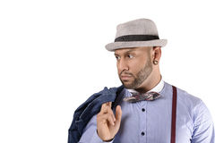 African American Young Man Fashion Model in Hat. Handsome African American young man in hat looking at one side. Copy space stock photography