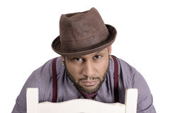 African American Young Man Fashion Model in Hat Stock Photo