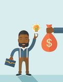 African-american young man with his bag and bulb Royalty Free Stock Photo