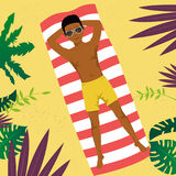 African american young man lying on a towel at tropical beach. Top view. African american young man lying on a towel at the tropical beach. Top view vector illustration