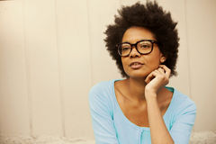 African american young woman with glasses. African american young woman wearing glasses Stock Image