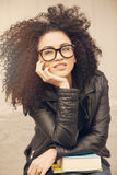 African american young woman with glasses. African american young woman wearing glasses Royalty Free Stock Image
