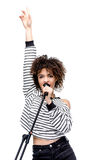 African american young woman singing with microphone isolated on white Royalty Free Stock Photos