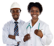 African americans doctor and engineer stock photos