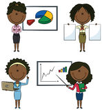 African-Americany business lady. Cute African-Americany business ladies with diagrams and documents Royalty Free Stock Photo