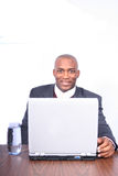 African Amrican Business Man. African American Man with Computer Royalty Free Stock Images