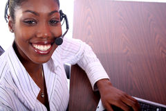 African Amrican Woman With Computer Stock Photography